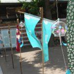 南千住の素盞雄神社で氏子61ヶ町の手ぬぐいと風鈴が境内に展示される手ぬぐいあわせ開催中 #地域ブログ #荒川区のはなし #荒川区