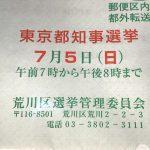 2020年7月5日(日)に実施された東京都知事選挙の荒川区内での各候補者の得票数